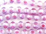 Pale Periwinkle w/Pink Roses Faceted Glass Beads 12mm (CRY166)