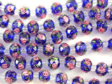 Cobalt Blue w/Pink Roses Faceted Glass Beads 9mm (CRY168)