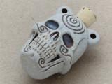 Spiral Skull Ceramic Cork Bottle Pendant 38mm (AP1817)