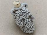 Sugar Skull Ceramic Cork Bottle Pendant 44mm (AP1818)