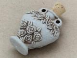 Heart Vase w/Roses Ceramic Cork Bottle Pendant 40mm (AP1830)