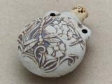 Dragonfly & Flowers Ceramic Cork Bottle Pendant 38mm (AP1833)
