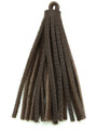 """Chocolate Brown Leather Tassel - Small 4"""" (LR63)"""