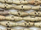 Ornate Ellipsoid Brass Beads 25mm - Ghana (ME5680)