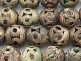 Ornate Round Brass Beads 18mm - Ghana (ME5684)