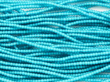 Tiny Turquoise White Heart Trade Beads 2mm (AT7128)