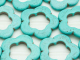 Turquoise Magnesite Flower Ring Gemstone Beads 32mm (GS3694)