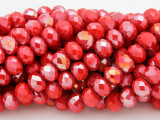 Coral Red w/Metallic Finish Crystal Glass Beads 8mm (CRY226)