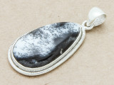 Sterling Silver & Dendritic Agate Pendant 40mm (GSP801)
