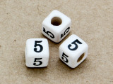 "Ceramic Alphabet Bead ""5"" - 6mm (CER15)"