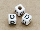 "Ceramic Alphabet Bead ""D"" - 6mm (CER22)"