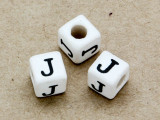 "Ceramic Alphabet Bead ""J"" - 6mm (CER28)"