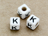 "Ceramic Alphabet Bead ""K"" - 6mm (CER29)"