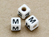 "Ceramic Alphabet Bead ""M"" - 6mm (CER31)"