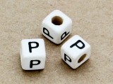 "Ceramic Alphabet Bead ""P"" - 6mm (CER34)"