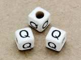 "Ceramic Alphabet Bead ""Q"" - 6mm (CER35)"