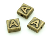 Brass Pewter - A - Square Bead 10mm (PB619)
