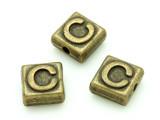 Brass Pewter - C - Square Bead 10mm (PB621)