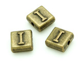 Brass Pewter - I - Square Bead 10mm (PB627)