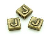 Brass Pewter - J - Square Bead 10mm (PB628)