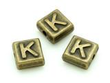 Brass Pewter - K - Square Bead 10mm (PB629)