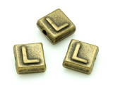 Brass Pewter - L - Square Bead 10mm (PB630)