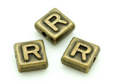 Brass Pewter - R - Square Bead 10mm (PB636)