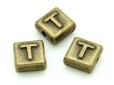 Brass Pewter - T - Square Bead 10mm (PB638)