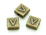 Brass Pewter - V - Square Bead 10mm (PB640)