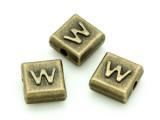 Brass Pewter - W - Square Bead 10mm (PB641)