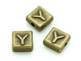 Brass Pewter - Y - Square Bead 10mm (PB643)
