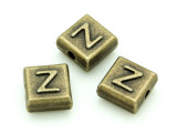 Brass Pewter - Z - Square Bead 10mm (PB644)
