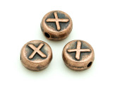 Copper Pewter - X - Round Bead 10mm (PB683)