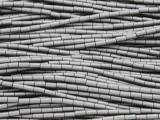 Gunmetal Silver Electroplated Hematite Tube Gemstone Beads 3-4mm (GS3705)