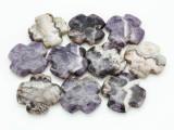 Chevron Amethyst Tabular Cross Gemstone Beads 40mm (GS3759)
