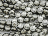 Iron Pyrite Faceted Round Tabular Gemstone Beads 8mm (GS3786)