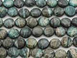 Turquoise Silver Line Jasper Round Tabular Gemstone Beads 10mm (GS3819)