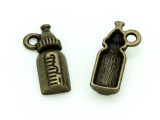 Brass Baby Bottle - Pewter Charm 17mm (PW1170)