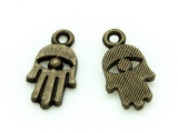 Brass Hamsa Hand - Pewter Charm 15mm (PW1172)