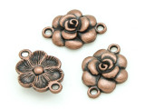 Copper Pewter Flower Connector 20mm (PB697)
