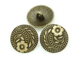 Brass Pewter Bead - Flower Button 17mm (PB790)