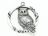 Owl w/Vines - Pewter Pendant 46mm (PW848)