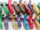 Multi-Color Agate Petal Gemstone Beads 20-45mm (GS3845)