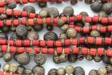 Yoruba Brass Bells w/Glass Trade Beads 14-24mm - Nigeria (AT7155)
