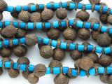 Yoruba Brass Bells w/Glass Trade Beads 16-24mm - Nigeria (AT7157)