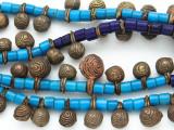 Yoruba Brass Bells w/Glass Trade Beads 14-24mm - Nigeria (AT7165)