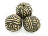 Carved Round Clay Bead 24-28mm - Mali (CL193)