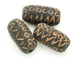 Carved Barrel Clay Bead 35-38mm - Mali (CL195)