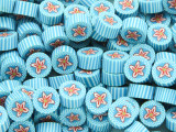 Blue & White w/Red Flower Polymer Clay Round Beads 10mm (CL205)