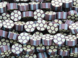 Purple w/Daisies & Stripes Polymer Clay Round Beads 10mm (CL208)